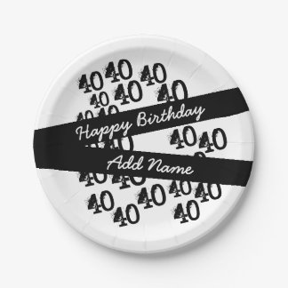 Personalized Funky Black White 40th Birthday 7 Inch Paper Plate