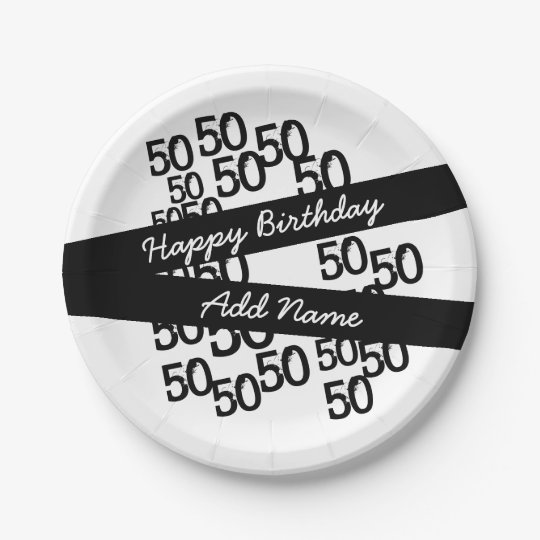 """Personalized Funky Black White 50th Birthday 7"""" 7 Inch Paper Plate"""