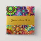 Personalized Funky Boho Floral Flame Mandalas 2 Inch Square Button