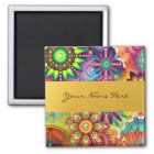 Personalized Funky Boho Floral Flame Mandalas Magnet