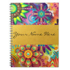Personalized Funky Boho Floral Flame Mandalas Notebook