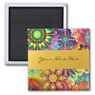 Personalized Funky Boho Floral Flame Mandalas Square Magnet