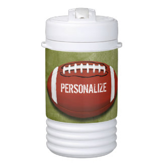 Personalized Funky Green Grunge Football Drinks Cooler
