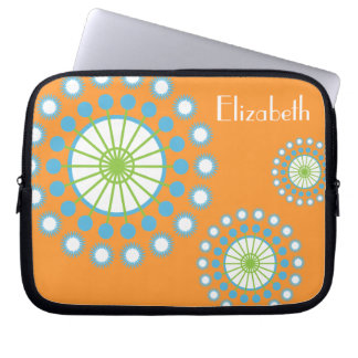 Personalized Funky Orange Blue Pinwheel Laptop Sleeve
