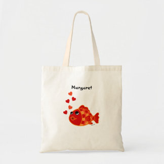 Personalized Funny Goldfish Cartoon Budget Tote Bag
