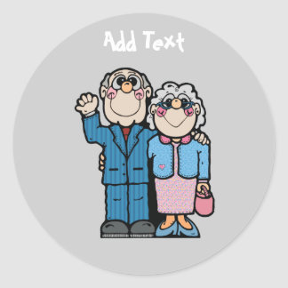 Personalized Funny Grandparent Cartoon Classic Round Sticker