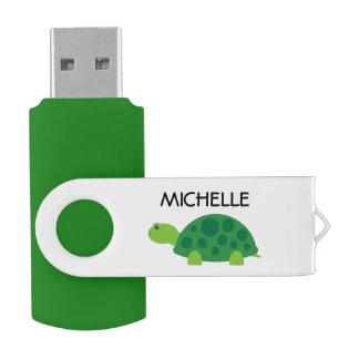Personalized funny green turtle USB flash drive Swivel USB 2.0 Flash Drive