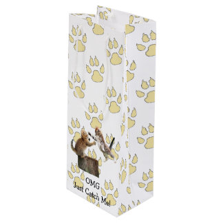 Personalized Funny Kitten Wine Bag - Paw Print