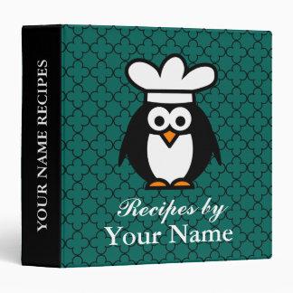 Personalized funny penguin recipe binder cookbook