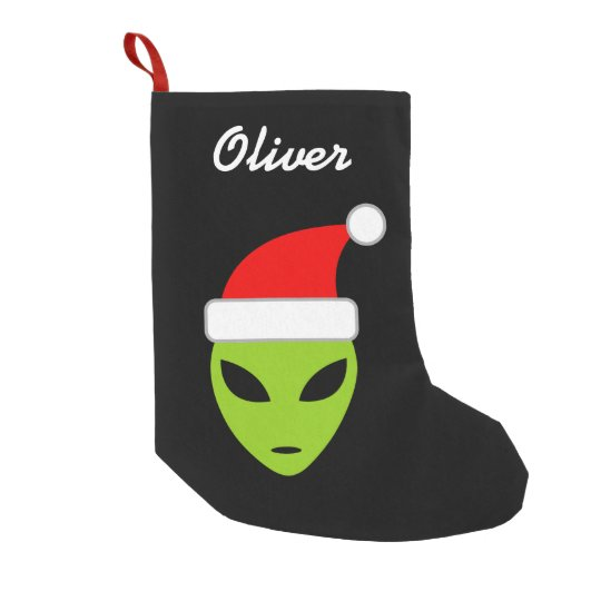 Personalized funny santa alien Christmas stocking