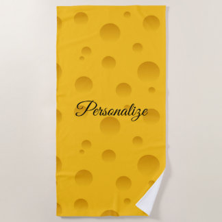 Personalized funny yellow swiss cheese print beach towel