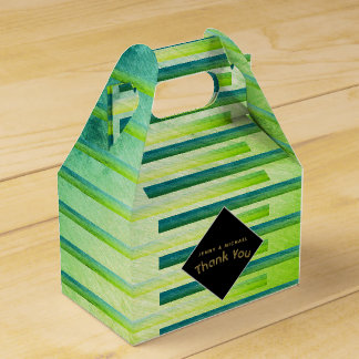 Personalized Gable Boxes Ombre Green Metallic