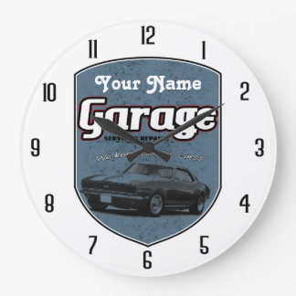 Personalized Garage Sign with Camaro Clock