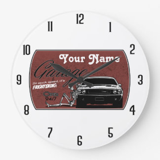 personalized Garage with Challenger Large Clock