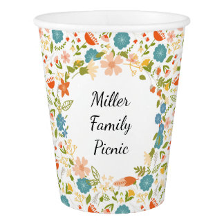 Personalized Garden Party Floral Paper Cup