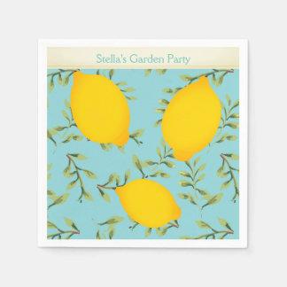 Personalized Garden Party Lemon Paper Napkins