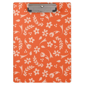 Personalized Garden Party Orange Floral Clipboard