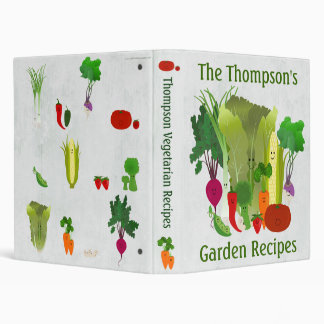 Personalized Garden Recipes 3 Ring Binders