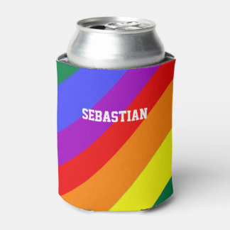 Personalized Gay Pride Rainbow Flag Can Cooler