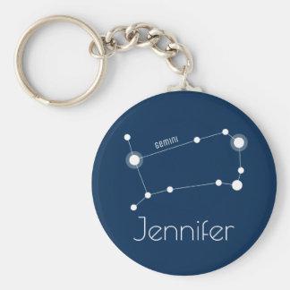 Personalized Gemini Zodiac Constellation Keychain