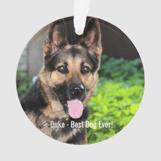 Personalized German Shepherd Dog Photo, Dog Name Ornament