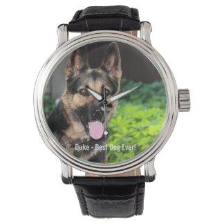 Personalized German Shepherd Dog Photo, Dog Name Wristwatches