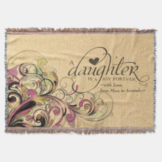Personalized Gift for Daughter Retro Floral Burlap Throw Blanket