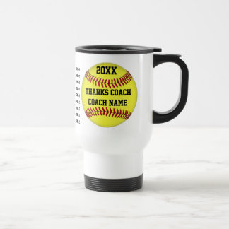 Personalized Gift for Softball Coach Players Names Stainless Steel Travel Mug