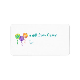Personalized gift tag label -- balloon