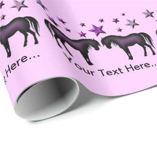 Personalized Gift Wrap - Purple Ponies And Stars