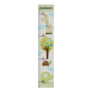 Personalized Giggle Gang Animals Growth Chart Poster