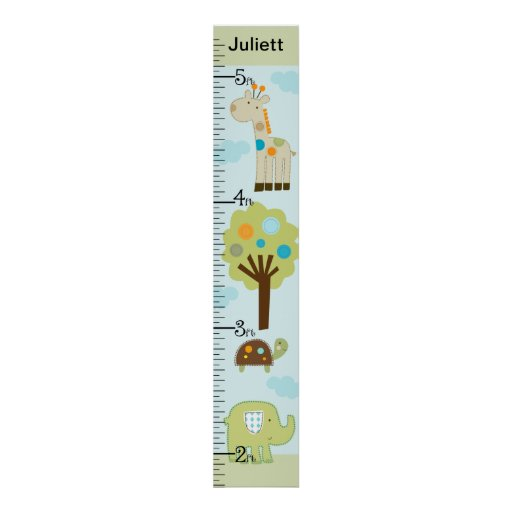 Personalized Giggle Gang Animals Growth Chart Posters