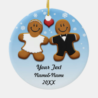Personalized Gingerbread Bride And Groom Ornament