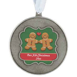 Personalized Gingerbread Couple Pewter Ornament