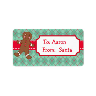 Personalized Gingerbread Santa Christmas Gift Tags