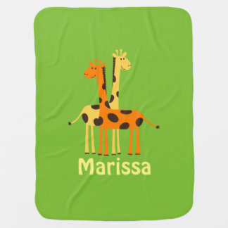 Personalized Giraffe Baby Gifts Receiving Blankets