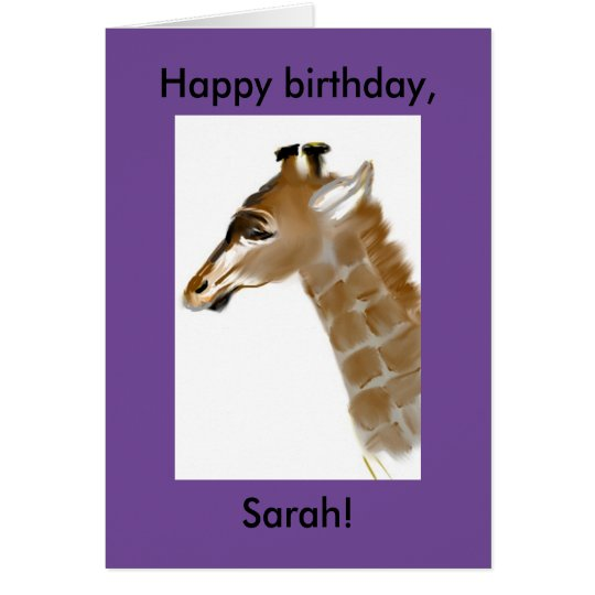 personalized giraffe birthday card