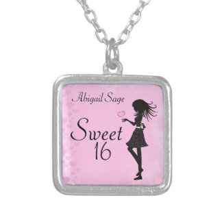 Personalized Girl and Hearts Sweet 16 Necklace