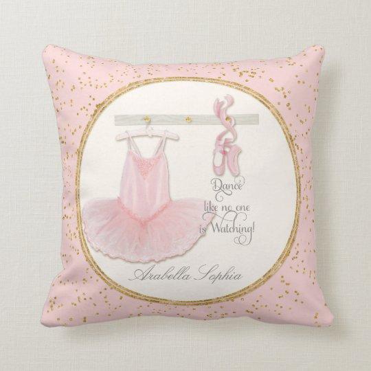 Personalized Girl Room Ballet Ballerina Dance Tutu Throw Pillow