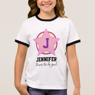 Personalized Girl Superhero with Initial and name Ringer T-Shirt