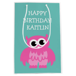 Personalized girls Birthday cute pink owl gift bag