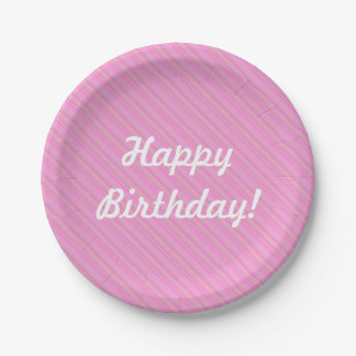 Personalized Girls Birthday Cute Pink Stripes Paper Plate