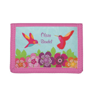 Personalized Girls Hummingbirds & Flowers Wallet