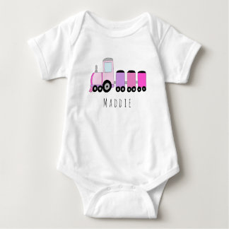 Personalized Girl's Locomotive Train with Name Baby Bodysuit