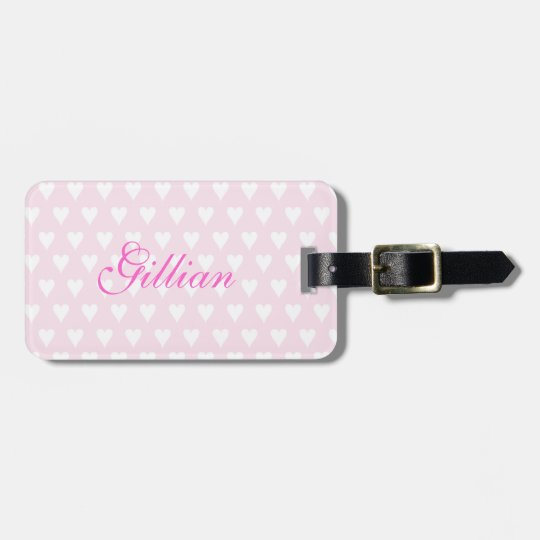 Personalized girls name G cute pink hearts Luggage Tag