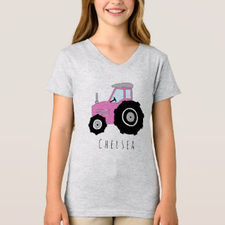 Personalized Girl's Pink Farmer's Tractor and Name T-Shirt