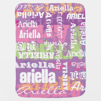 Personalized Girl's Purple Pink Subway Art Receiving Blankets