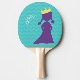 Personalized Girls Purple Princess Silhouette Teal Ping Pong Paddle