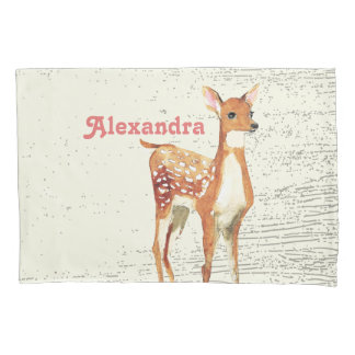 Personalized Girl's Room Deer Wood Texture Pillowcase