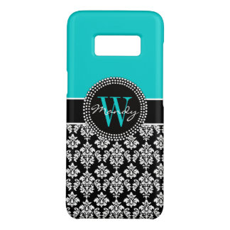 Personalized Girly Aqua Black Damask Monogram Case-Mate Samsung Galaxy S8 Case